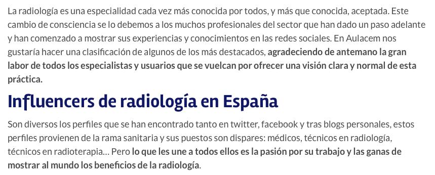 Influencers de Radiología en España